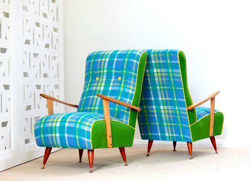 Retro wool blanket chairs. | Furniture Upholstery in Taranaki, New Plymouth | Red Couch