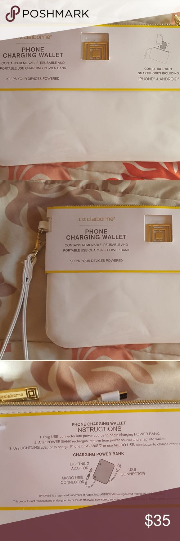 Liz Claiborne phone charging wallet. Pretty white wallet with hand strap and gold logo on front. Contains removable, reusable and portable USB charging power bank.  Compatible with Android and Iphone! Liz Claiborne Bags Clutches & Wristlets