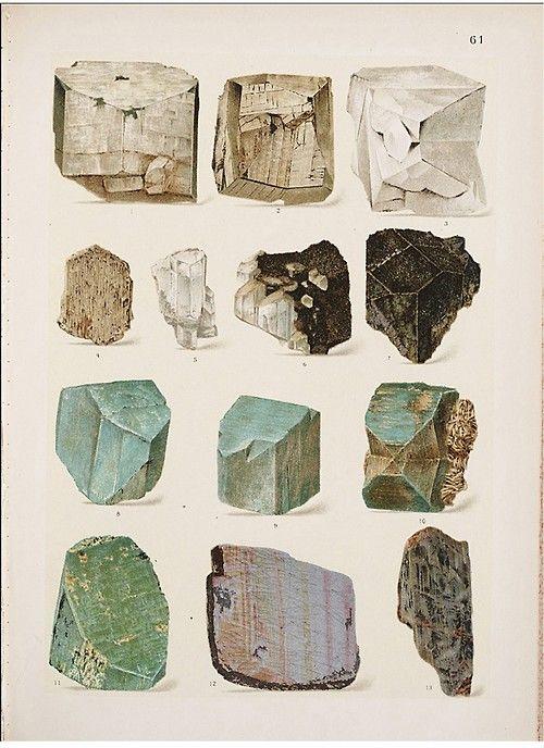 : Gems, Vintage Illustrations, Vintage Prints, Art, Color Pallets, Rocks Collection, Stones, Minerals, Rocks Poster