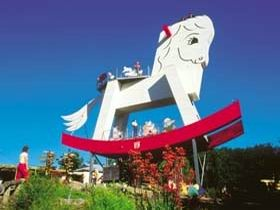 The Big Rocking Horse is a tourist attraction located in the town of Gumeracha, South Australia. Designed by David McIntosh, the structure weighs 25 tonnes and stands at over 18 metres tall, and is one of a number of Big Things in Australia designed to attract the attention of passing motorists.