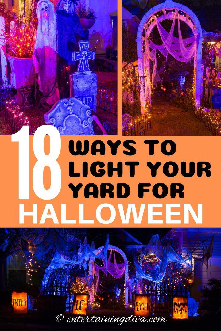 Halloween Outdoor Lighting Ideas 21 Spooky Ways To Light Your Yard Entertaining Diva From House To Home In 2020 Halloween Outdoor Decorations Outdoor Halloween Halloween Decorations