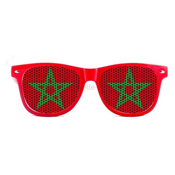 SUperbe paire de lunettes de soleil de type wayfarer avec verres aux couleurs du drapeau marocain ! un must have pour la coupe du monde ou tout évènement sportif ! #flag #sunglasses #worldcup #coupedumonde #lunettes #maroc #marocco