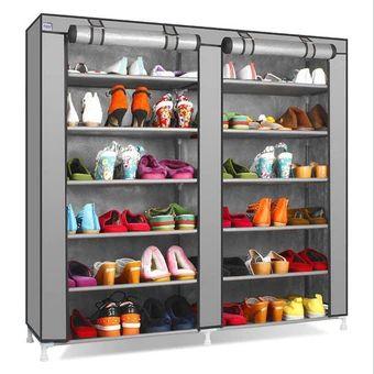 6 Tier With Shoe Rack Non Woven Fabric Racks Shelf Storage Closet Organizer Cabinet Storages Grey