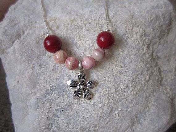Naturel Coral and Rhodochrosite beads necklace with sterling silver chain Best gift for birthday, Christmas, New year, Eid...