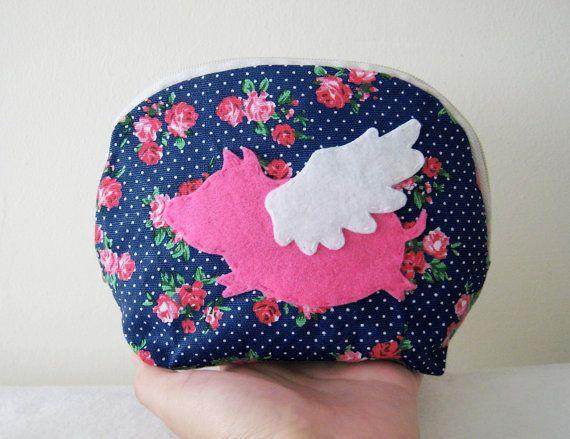 When Pig Flys In Summer. Sweet Pink Rose Garden Navy Zipper Pouch Cosmetic Pouch.