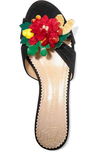 Charlotte Olympia - Tropical Embellished Suede Slides - Black - IT35.5