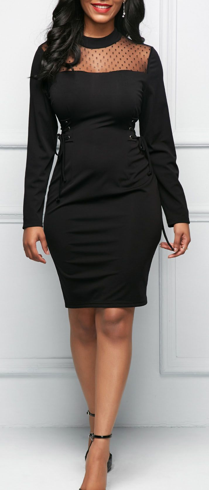 Lace Up Side Back Slit Long Sleeve Dress