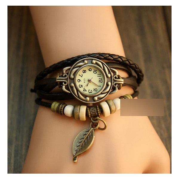 Braided Genuine Leather Bracelet Watch ($7.51) ❤ liked on Polyvore featuring jewelry, watches, beaded jewelry, snap bracelet, bracelet watches, leather bracelet and bead bracelet