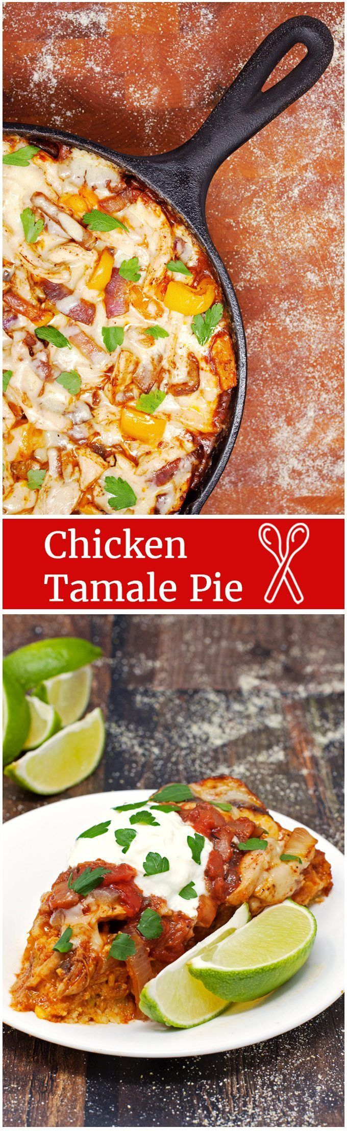 Chicken Tamale Pie: One-skillet, easy chicken tamale pie recipe with layers of cornbread, enchilada sauce, chicken and cheese, baked until melty and topped with your favorite taco fixings! - 2teaspoons.com