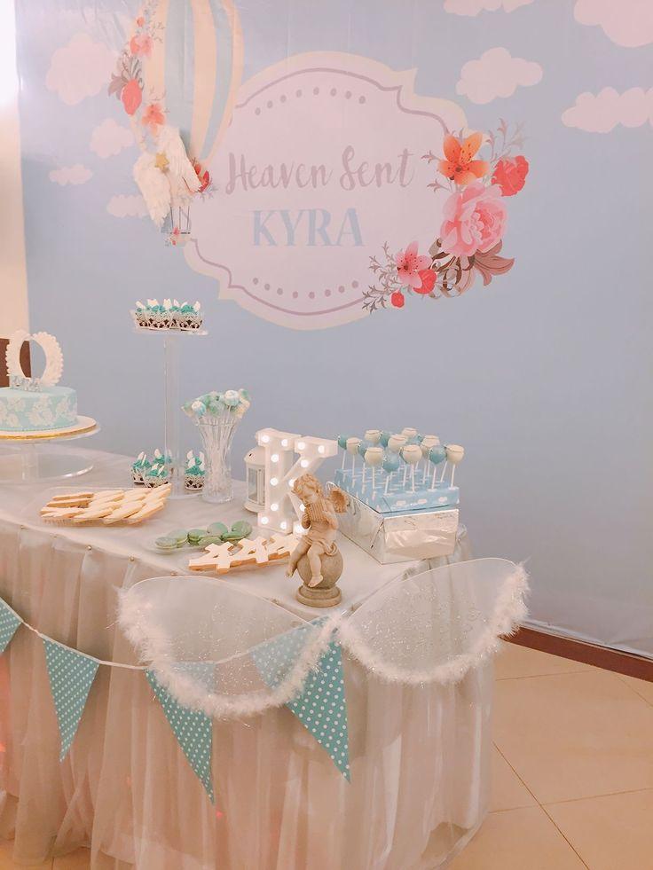 Heaven sent angel backdrop and dessert table