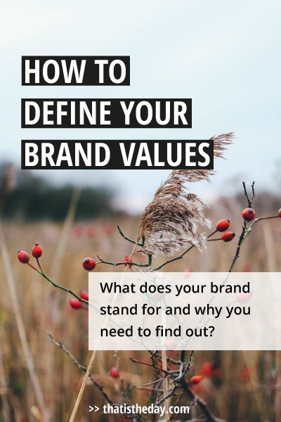 What does your brand stand for? Consumers are searching for brands they can connect with and that have a deeper, more personal meaning to them than just the product they buy. A real connection is based on sharing the same values. Knowing your brand values and communicating them is important to establish and grow your brand | thatistheday.com #brandvalues #business #branding