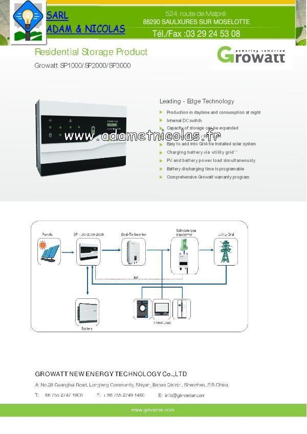 - GROWATT SP 1000 Vente en ligne panneaux solaires Vosges - kits photovoltaïques - Installer Panneau Materiel Solaire