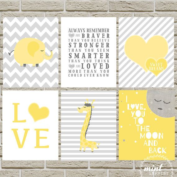 Yellow Gray Print Set of 2 / You Choose / Elephant Nursery / Giraffe Print / Safari / Yellow Grey Gray Unisex Prints Gender Neutral Nursery
