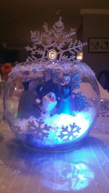 Frozen centerpiece.. ALL dollar store items...
