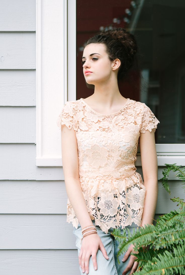 Level 99 Relaxed Lily Straight Leg Jeans, Whitney Lace Blush Peplum Tee lilyandviolet.com