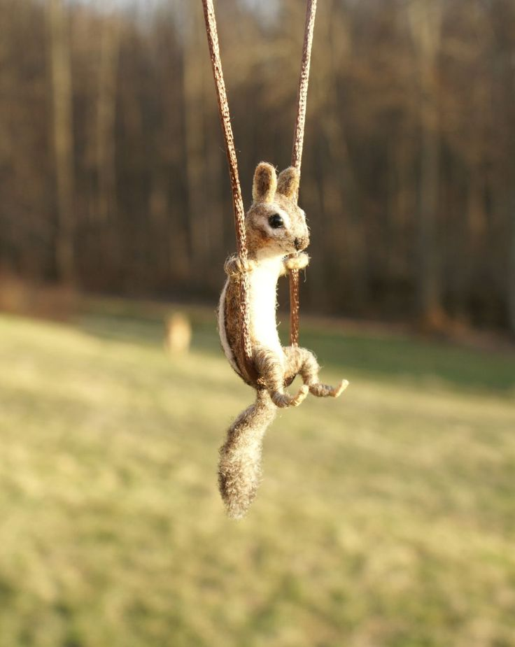 Tiny Chipmunk Necklace / sculpture needle felted by motleymutton
