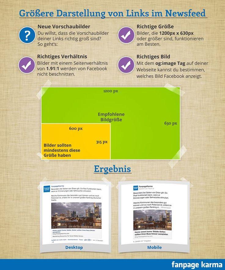 größere Bilddarstellung im Newsfeed (Stand: September 2013) #Facebook #Newsfeed #Bildgröße