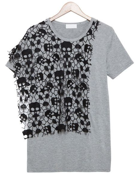 Casual Skull Appliqué T-Shirt  from PIXYLEG by DaWanda.com