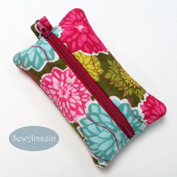 Dahlia and Aster Blossoms Pocket Tissue Holder, Travel Tissue Case:  Keep your travel tissues clean and tidy in this pretty floral zippered case. Holds one pocket sized tissue pack (not included). Carry individual packets of hand wipes or discreetly holds personal items in your bag or purse. Handmade of premium cotton quilting fabric from Kate Spain's Terrain collection. #bmecountdown