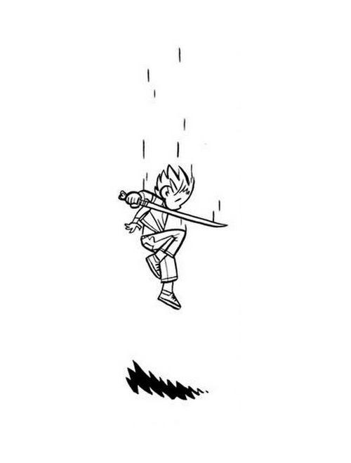 Falling combat pose, sword held behind back.