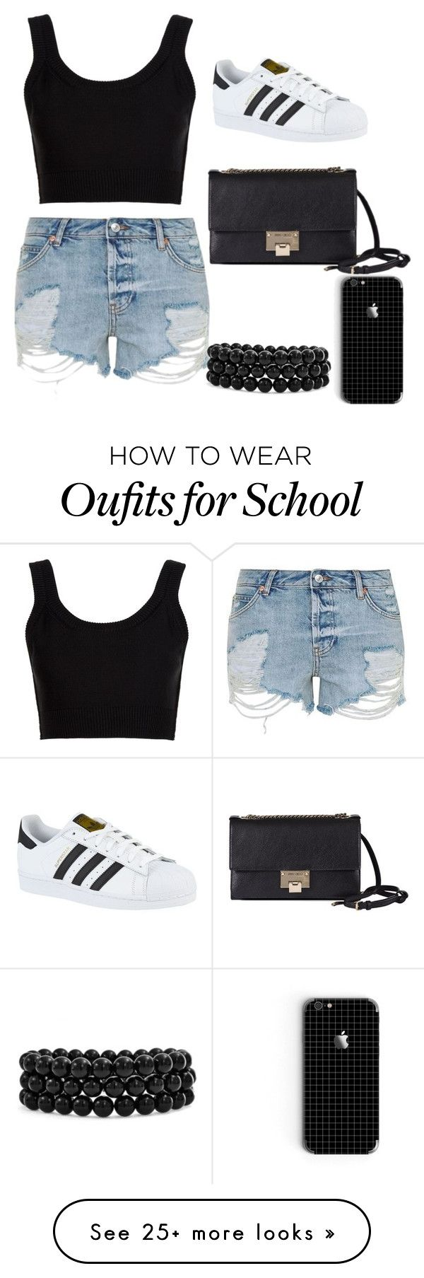 """back to school"" by fatimtasayee on Polyvore featuring Topshop, Calvin Klein Collection, adidas, Jimmy Choo and Bling Jewelry"