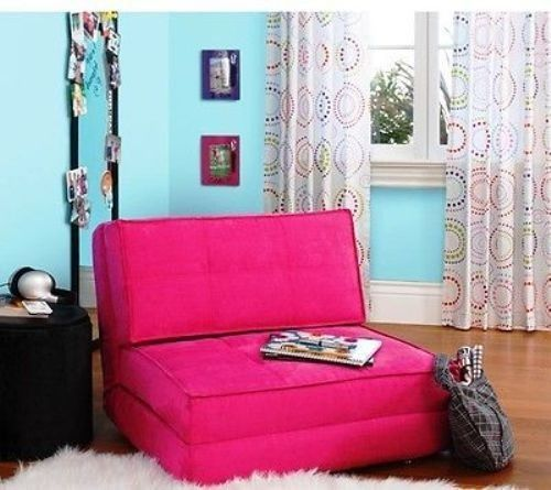 Flip Chair Deep Seating Hot Pink Ultra Suede Convertible