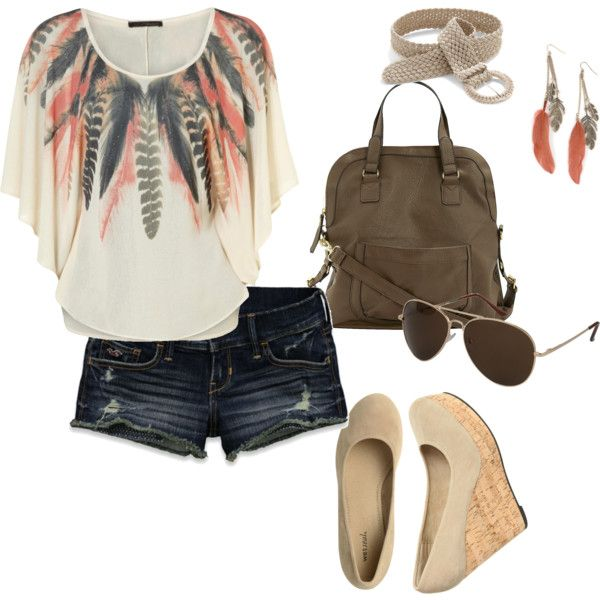: Feathers Prints, Summer Wear, Summer Style, Corks Wedges, Shorts 3, Full Outfits, Summer Outfits, Summer Fun, Travel Outfits