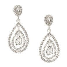 Rhinestone Double Teardrop Drop Earrings