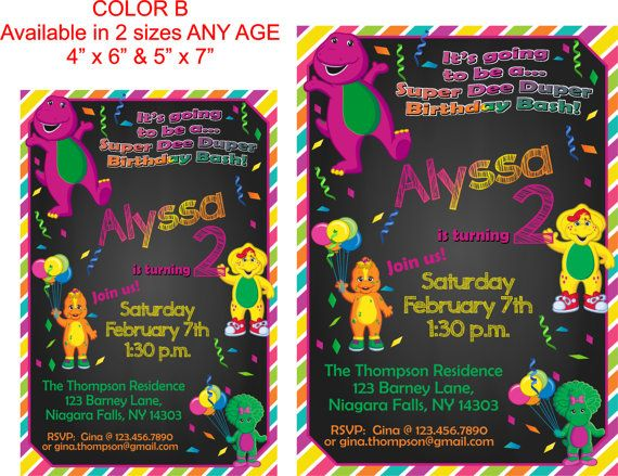 YOU PRINT Barney and Friends Birthday Invite by TAGSRUSCANADA