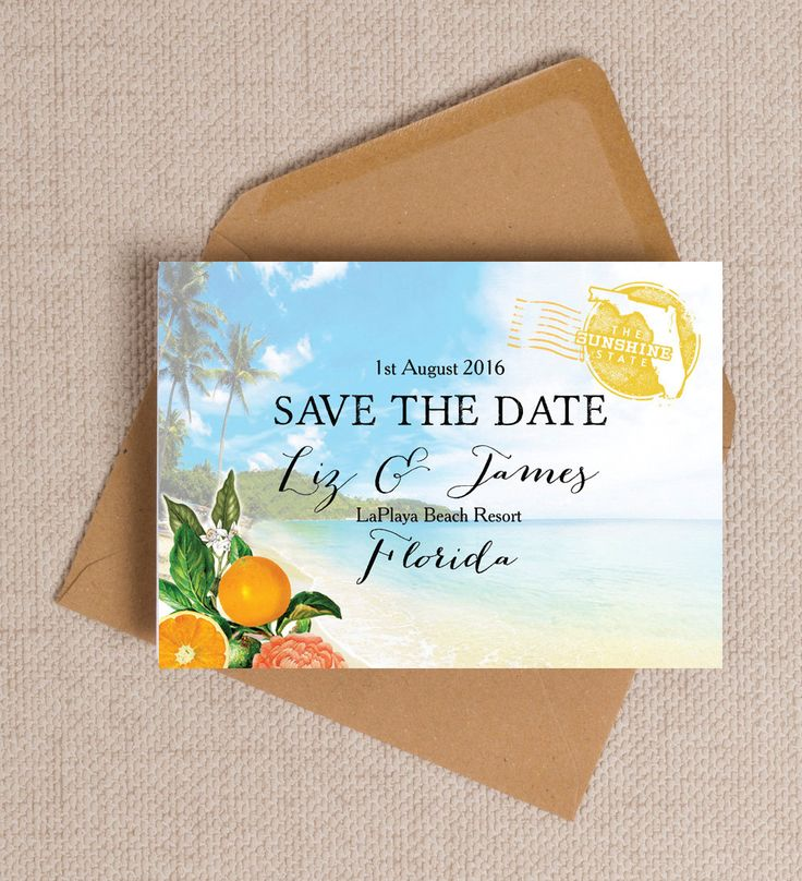 Nothing builds up the romance, mystery and excitement about a wedding more than receiving a Save the Date in the post. Where is the venue? What is the dress like? Is it formal or laid back? Beach chic or black tie? This is not only a practical suggestion for guests to actually save the date but also the first glimpse of the most magical day of your lives.  With a tropical beach theme and some pretty orange and floral illustrations, these save the date cards or magnets are perfect for a…