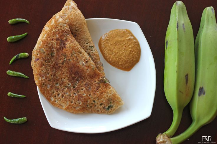 Here is the recipe for plantain dosa, a quick and easy dosa (rice pancake) that requires no fermentation.