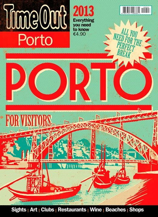 Cover for Time Out Porto for Visitors 2013. I made this cover along with Algarve and Lisbon for Visitors. The idea was to built a small collection with the vintage feel of old portuguese stamps. Few colors, high contrast, low detail illustrations, with a known landmark or highlight. I liked it a lot.