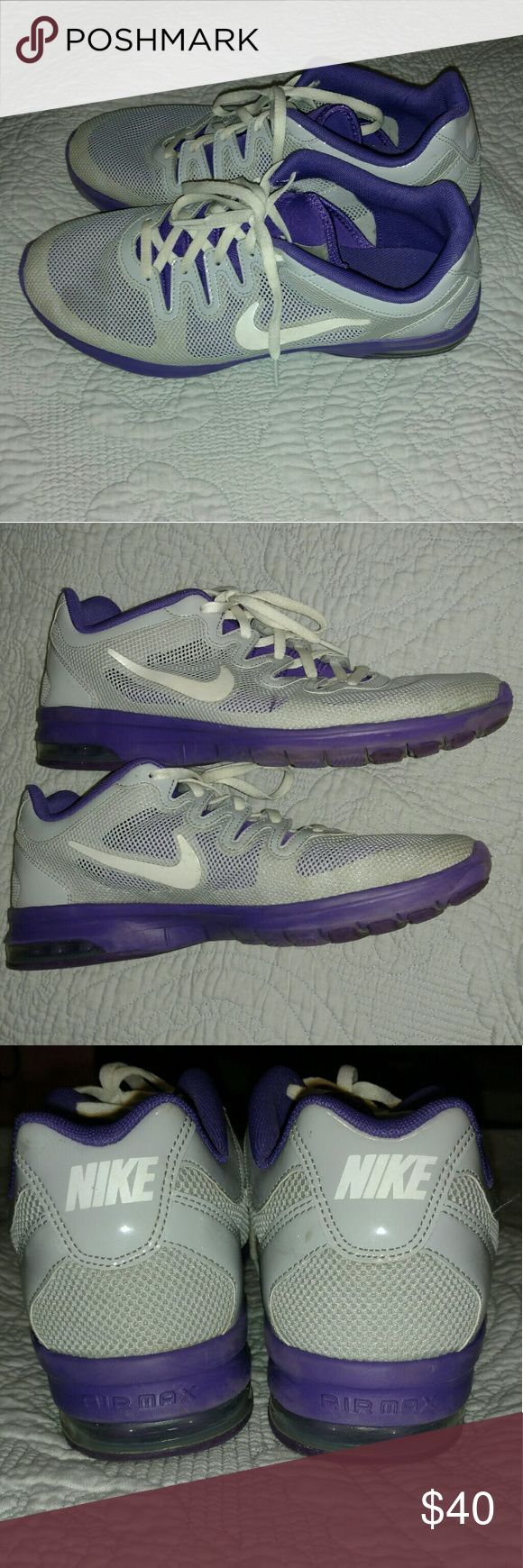 Purple and grey Nike Air Max team travel shoes Worn during one season of College volleyball for travel to and from away games. Will wash soles before sending. Nike Shoes Sneakers