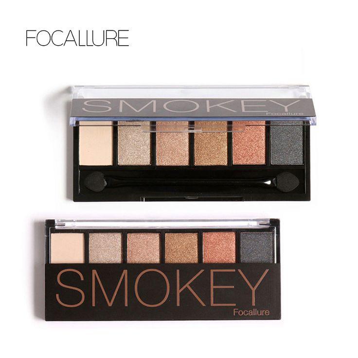 Hot selling Professionele 6 Kleuren Oogschaduw Palet Glamoureuze Smokey Oogschaduw Shimmer Kleuren Make Kit door Focallure