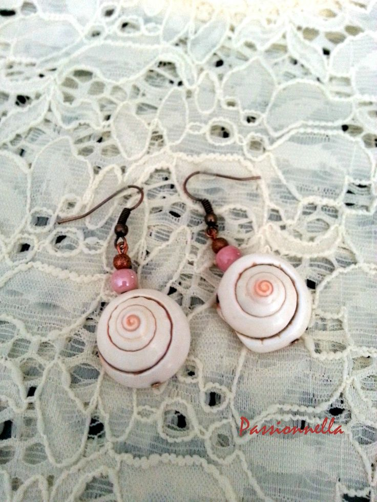 boucle oreille coquillage perle rose - polymerecreat.fr