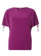 Womens Purple Tie Cold Shoulder Top- Purple