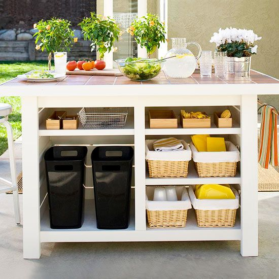 Organize your outdoor kitchen with some of our best tips here: http://www.bhg.com/kitchen/outdoor/outdoor-kitchens/?socsrc=bhgpin071414dontmissthebasics&page=2