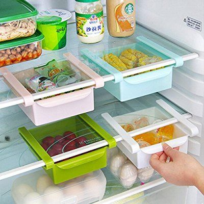 Fridge Storage Sliding Drawer, Hineway Refrigerator Organizer Space Saver Shelf(Blue, 4 Piece)