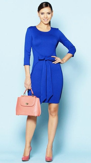 Cobalt blue Every day blue dress for women Office clothing Jersey autumn fashion dress
