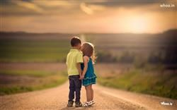 Baby Girl Kiss To Boy On The Road HD Kids Kiss Wallpaper,Kiss Wallpaper,Little Couple Wallpaper,First Kiss Images,Cute Wallpaper,Cute Baby Wallpaper