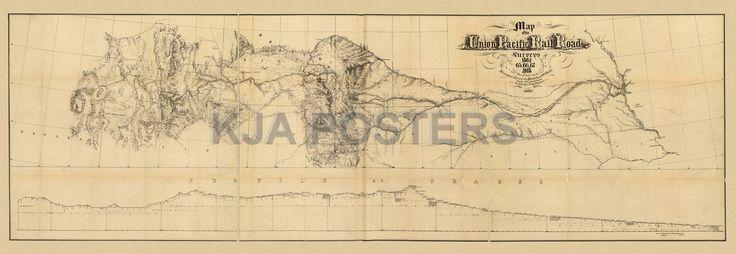 union pacific rr train historic map 1869