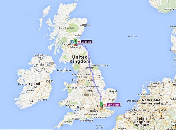 Londra'dan Edinburgh'a tren rotası.. / from London to Edinburgh train route..