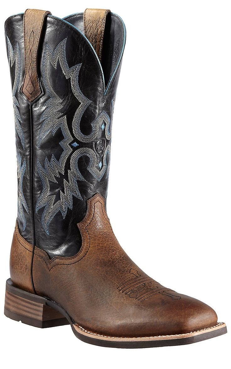 Ariat Tombstone Men's Earth Brown w/Black Top Double Welt Square Toe Cowboy Boots