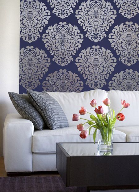 Grand Damask Wall Stencil From Royal Design Studio