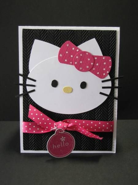 #SU Hello Kitty - Melon Mambo, black, white, yellow, Oval Nestie, heart punch, label punch, circle punch, gel pen, ribbon, Herringbone CBF   Read more: http://www.splitcoaststampers.com/gallery/photo/1660782#ixzz2ZMJydwr6