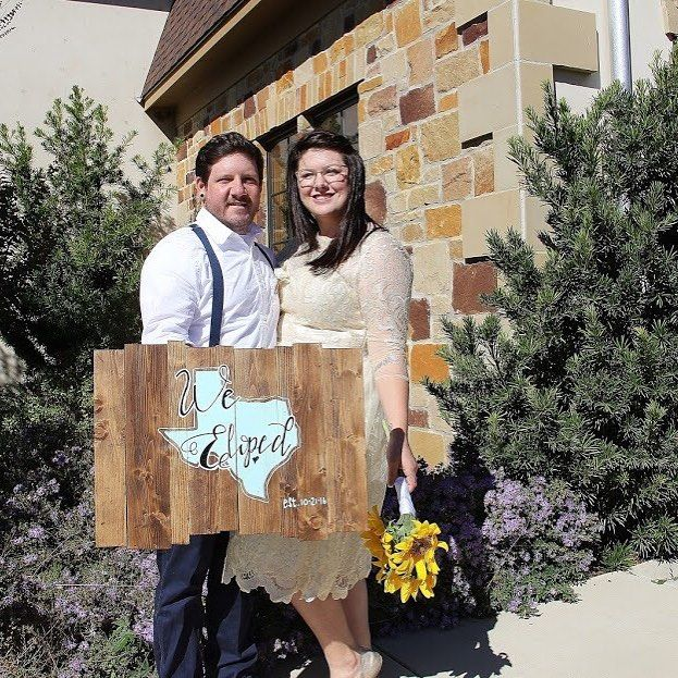 Kayla and Jacob knew they couldn't wait a whole year for their planned wedding so their original wedding date will now mark their first anniversary. What a great idea and we love this cute sign which they used for their announcement.  They are featured on the blog this week link in bio.