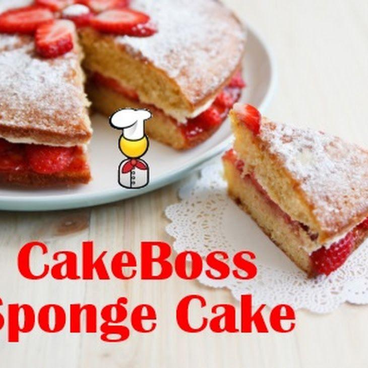 CakeBoss Sponge Cake Recipe Desserts with eggs, sugar, vanilla, whole milk, butter, all-purpose flour, baking powder, salt