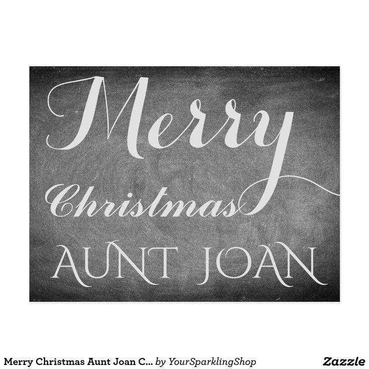 Merry Christmas Aunt Joan Chalkboard Typography #personalize