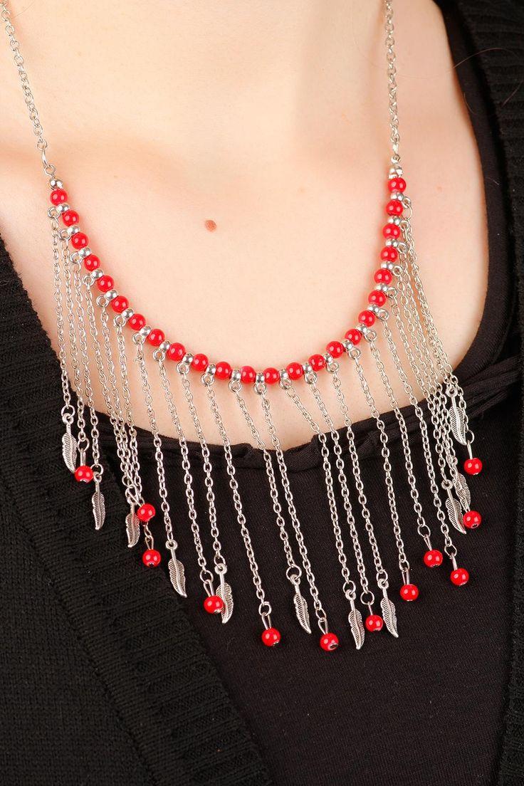 Gümüş Kaplama Zincir Tasarımlı Kırmızı Boncuk & Yaprak Figürlü Uzun Bayan Kolye