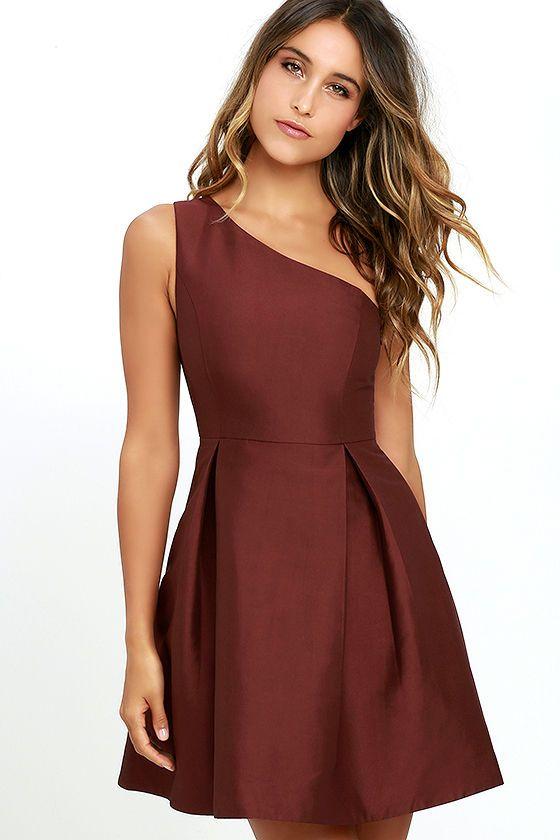Unconditional Love Burgundy One Shoulder Skater Dress